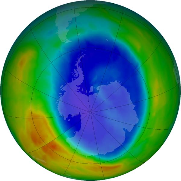 Stan dziury ozonowej 11 września 2012 r. (NASA/Ozone Hole Watch)