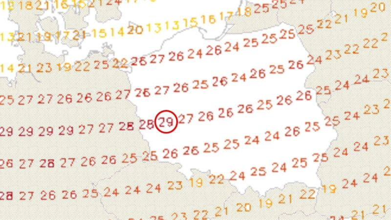 Prognoza temperatury na poniedziałek 29 maja (model GFS)