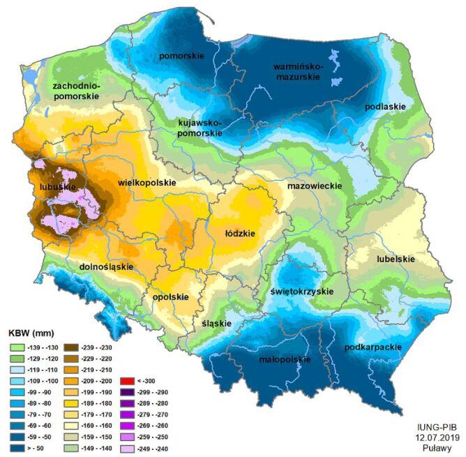 Susza rolnicza w Polsce - stan z 12 lipca 2019 roku (IUNG)