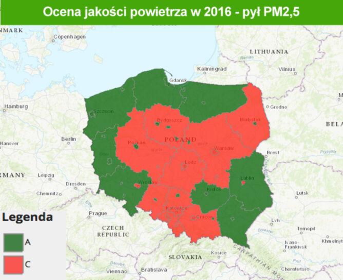 Jakość powietrza w 2016 roku - pył PM2,5 (TVN Meteo za GIOŚ)