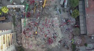 Widok z drona na zniszczenia w tureckiej prowincji Izmir