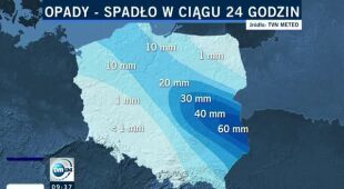 Nawet 60 l deszczu spadło w ciągu doby w Polsce (TVN24)